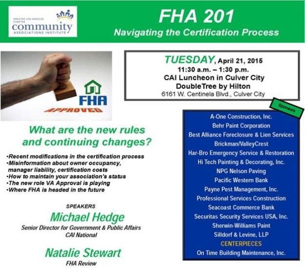FHA Review will speak at CAI Los Angeles Luncheon 4/21/15